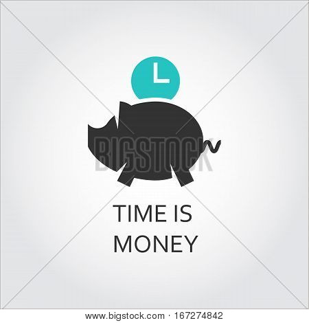 Flat icon with piggy and clock. Time is money concept. Vector logo drawn in outline style. Simple black and green label. Image for your design needs. Contour graphics