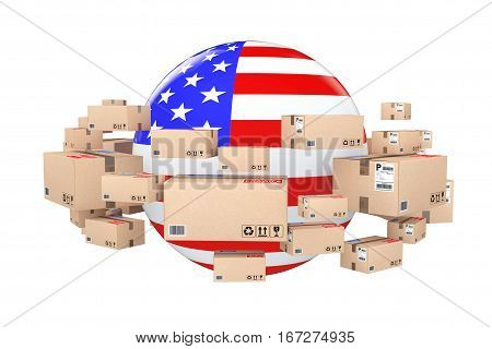 Global Shipping and Logistic Concept. Sphere with USA Flag Surrounded by Cardboard Boxes with Parcel Goods on a white background. 3d Rendering.