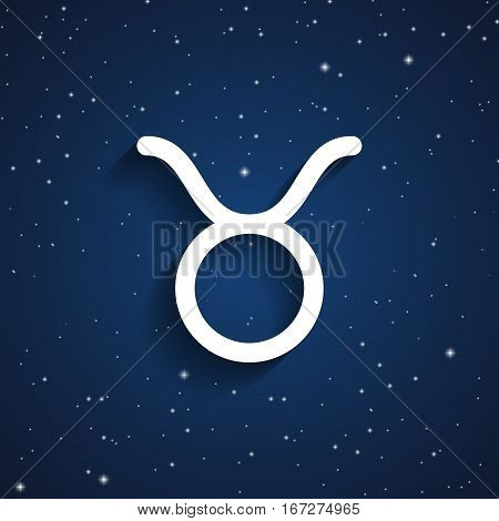 Taurus zodiac symbol white zodiac icon on the background of dark blue starry sky