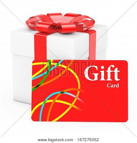 Cardoard Gift Box with Gift Card on a white background. 3d Rendering.