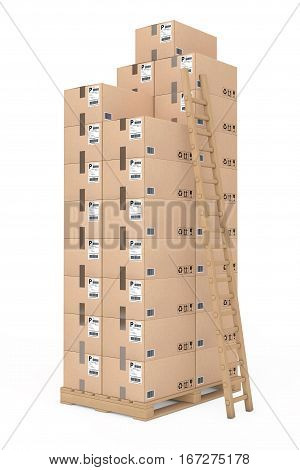 Logistics concept. Cardboard boxes with Ladder on wooden palette on a white background. 3d Rendering.