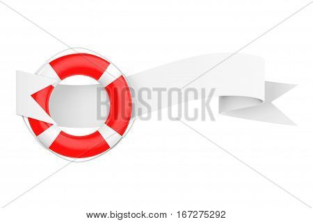 Life Bouy with Ribbon Banner on a white background. 3d Rendering.