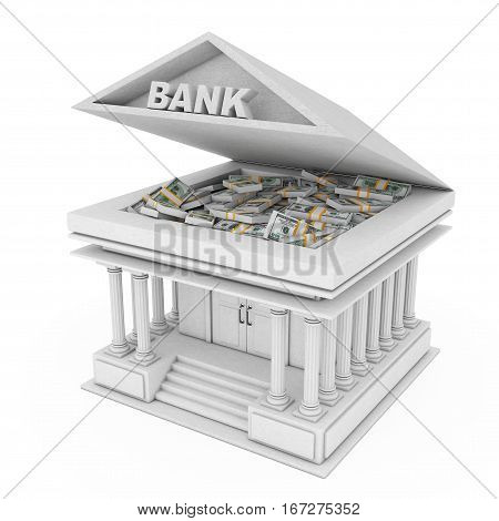 Bank Building with Banknotes under Opened Roof on a white background. 3d Rendering.
