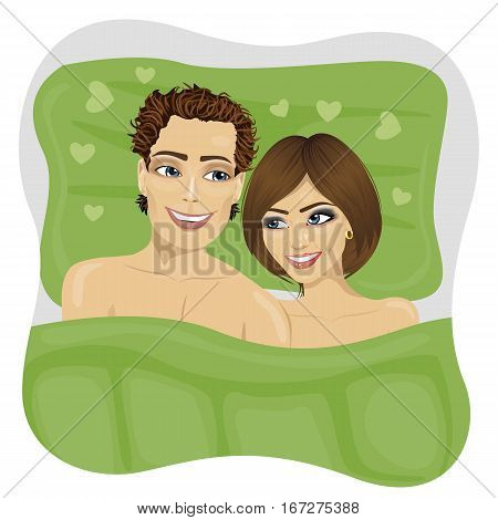young couple in love lying in green bed looking at each other