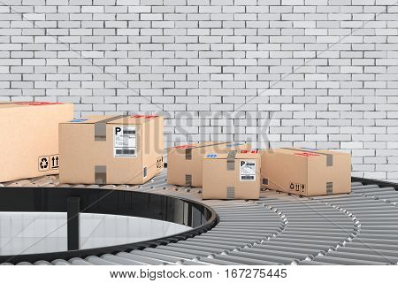 Parcels Transportation System Concept. Cardboard Boxes on Conveyor in Warehouse in front of brick wall. 3d Rendering