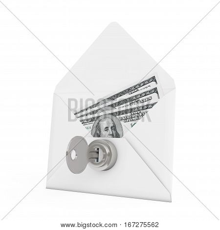 Security Concept. Money in Envelope with Key and Keylock on a white background. 3d Rendering.