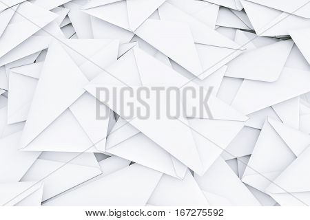 White Blank Envelope Letters Heap on a white background. 3d Rendering