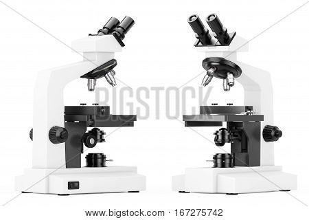 Modern Laboratory Microscope on a white background. 3d Rendering.