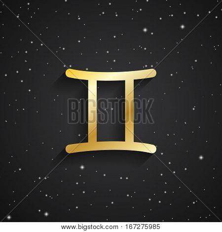 Gemini zodiac symbol gold zodiac icon on the background of black starry sky
