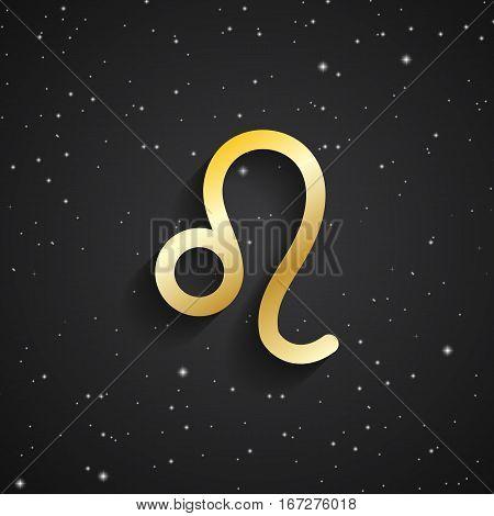Leo zodiac symbol gold zodiac icon on the background of black starry sky