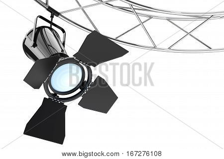 Metal Modern Stage Spotlight Construction on a white background. 3d Rendering