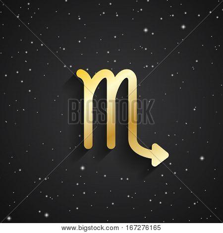 Scorpio zodiac symbol gold zodiac icon on the background of black starry sky