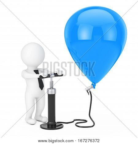 3d Person Businessman with Black Hand Air Pump inflates Blue Balloon on a white background. 3d Rendering