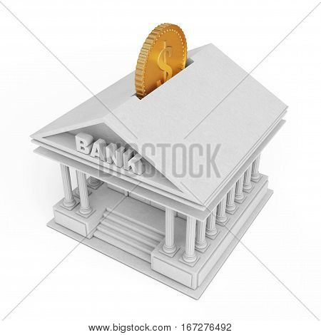Bank Building with Golden Coin as Moneybox on a white background. 3d Rendering.