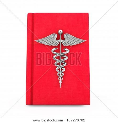 Medical Book with Silver Caduceus Symbol on a white background. 3d Rendering