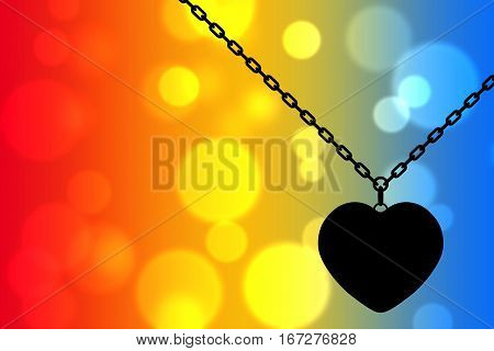 Heart Medallion on chain on an abstract background as backlight. 3d Rendering
