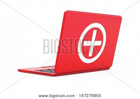 Red Laptop with First Aid Kit Sign on a white background. 3d Rendering.