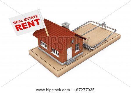 Real Estate Sale Concept. House Building with Real Estate Rent Flag over Wooden Mousetrap on a white background. 3d Rendering.