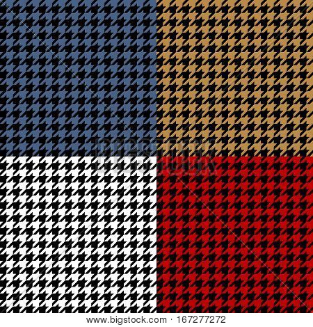 Houndstooth geometric plaid seamless pattern set, vector background