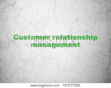 Advertising concept: Green Customer Relationship Management on textured concrete wall background