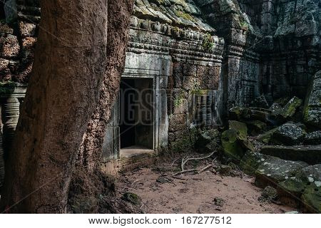 The stone door of an ancient temple Ta Nei at Angkor complex, Siem Reap, Cambodia