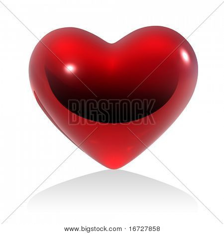 Red heart on white background (isolated).  See more this theme in my portfolio.