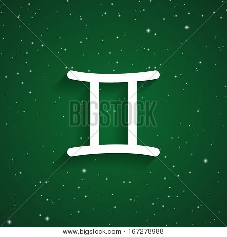 Gemini zodiac symbol white zodiac icon on the background of green starry sky