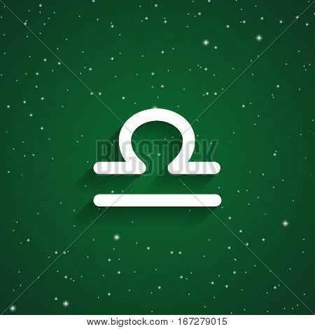 Libra zodiac symbol white zodiac icon on the background of green starry sky