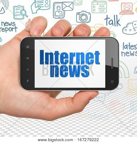News concept: Hand Holding Smartphone with  blue text Internet News on display,  Hand Drawn News Icons background, 3D rendering