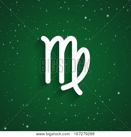 Virgo zodiac symbol white zodiac icon on the background of green starry sky