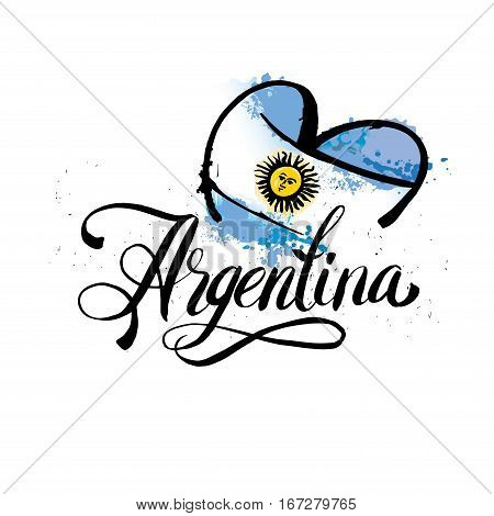 Argentina lettering. Hand lettering heart logo with watercolor elements. argentina flag colors, grunge effects can be easily removed