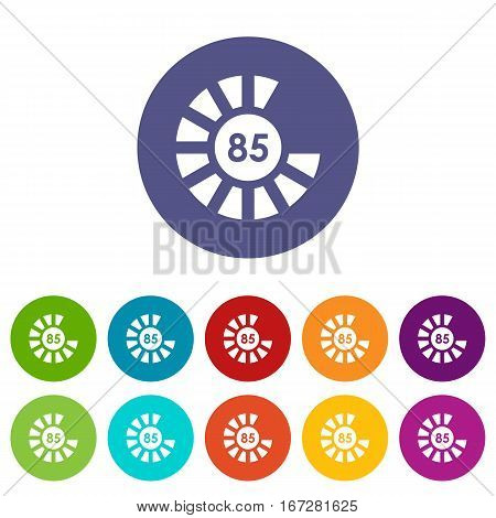Sign 85 load set icons in different colors isolated on white background