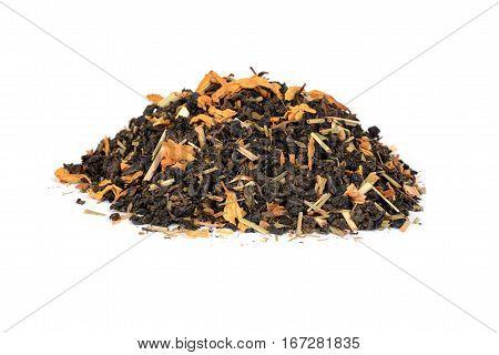 pile of organic tea with lemon grass flowers