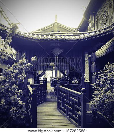Ancient chinese pavillion at old town Lijiang China.
