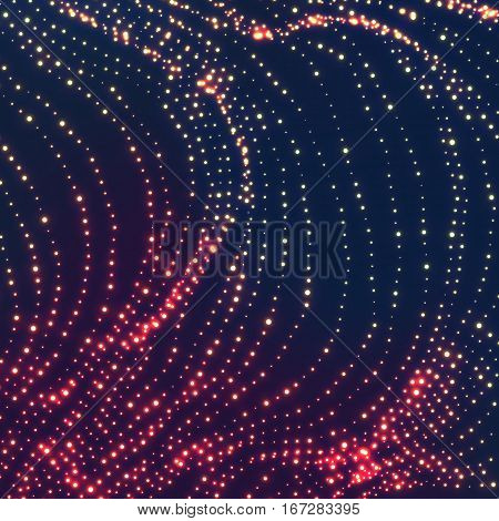 Wave Background. Ripple Grid. Glowing Round Particles. Swarm Of Dots. Vector Illustration