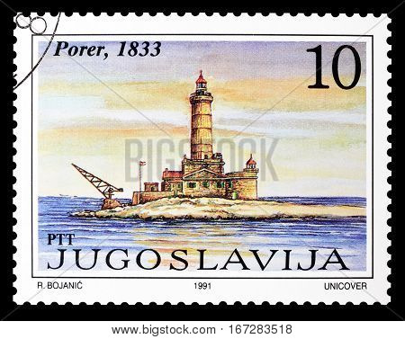 YUGOSLAVIA - CIRCA 1991 : Cancelled postage stamp printed by Yugoslavia, that shows  Lighthouse Porer.
