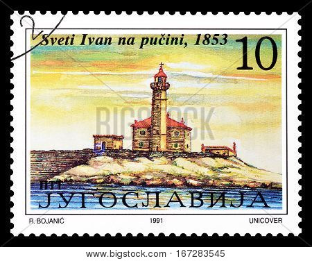 YUGOSLAVIA - CIRCA 1991 : Cancelled postage stamp printed by Yugoslavia, that shows  Lighthouse Saint Ivan.
