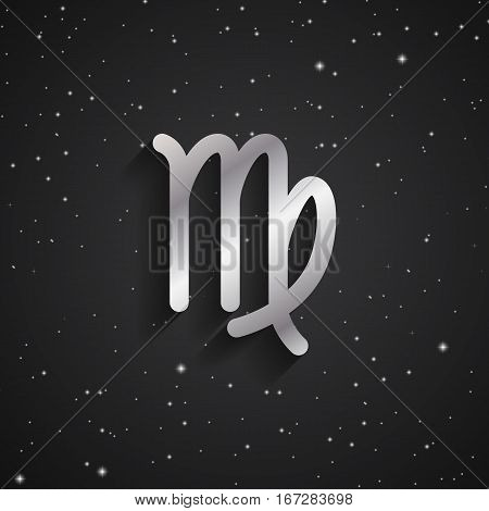 Virgo zodiac symbol silver zodiac icon on the background of black starry sky