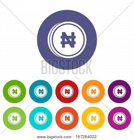 Coin naira set icons in different colors isolated on white background