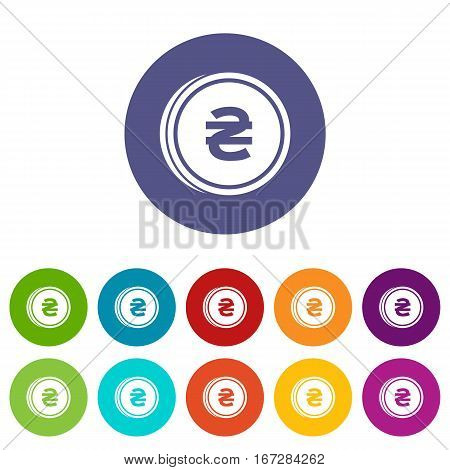 Coin hryvnia set icons in different colors isolated on white background