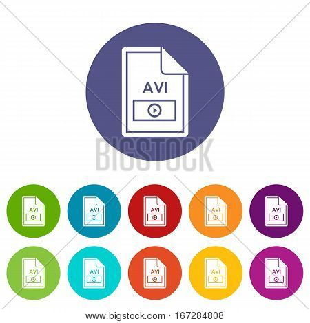 File AVI set icons in different colors isolated on white background