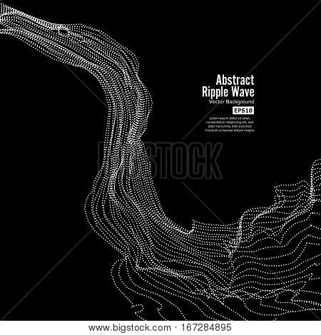 Wave Background. Ripple Grid. Array Of Dynamic Emitted Particles. Vector Illustration