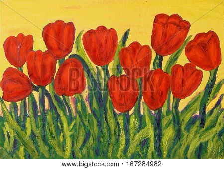 Hand painted picture oil painting red tulips on yellow background.