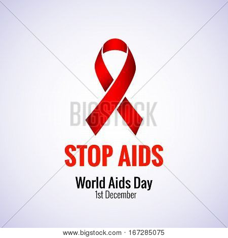 Stop AIDS - 1st December AIDS day template red ribbon on isolated background with shadow. Vector illustration EPS 10