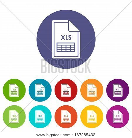 File XLS set icons in different colors isolated on white background