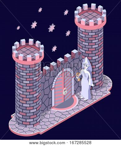 Fairytale stone castle, gate, towers and white lady. 3D isometric view. Vector illustration.