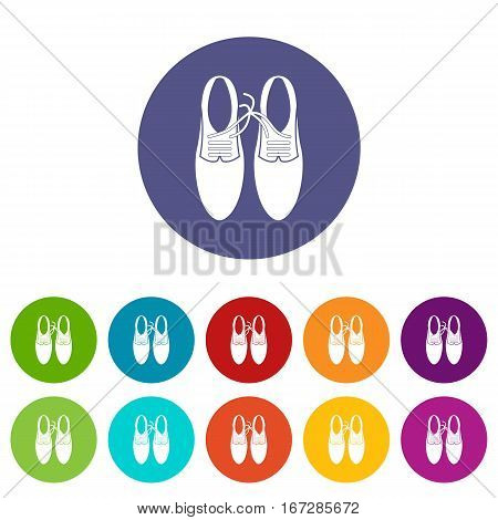 Tied laces on shoes joke set icons in different colors isolated on white background