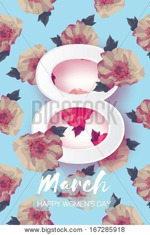 Showy Bouquet Peony Flowers. Beautiful Floral Greeting card with paper cut eight and space for text. Origami 8 March. International Happy Women's Day. Paper cut eight. Vector illustration