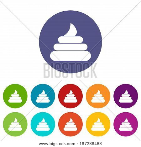Turd set icons in different colors isolated on white background