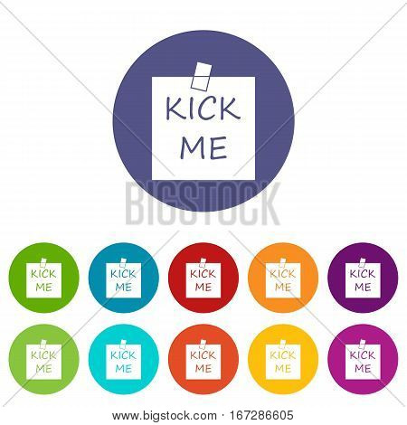 Inscription kick me set icons in different colors isolated on white background